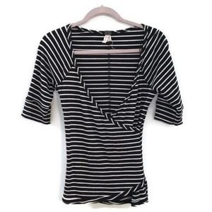 WE THE FREE Paradise black striped wrap top